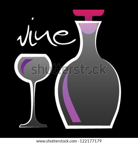 wineglass and bottle vector illustration - stock vector