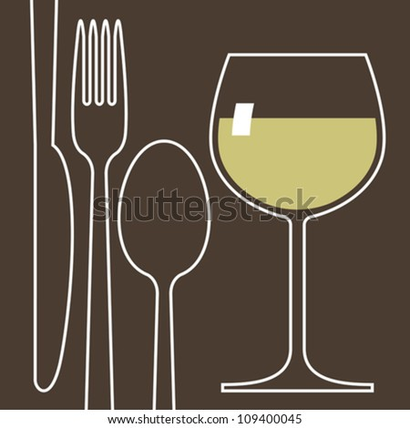 Wineglass and cutlery - stock vector