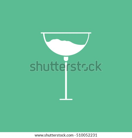Wineglass Flat Icon On Green Background