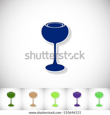 Wineglass. Flat sticker with shadow on white background. Vector illustration