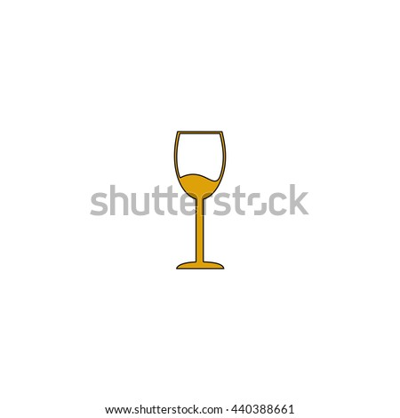 wineglass Flat yellow thin line symbol on white background. Vector icon - stock vector