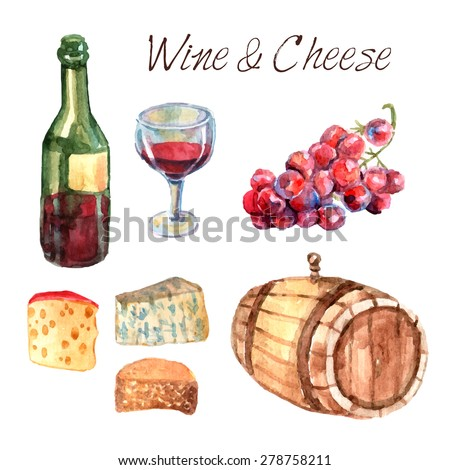 Winery farm production watercolor pictograms collection for restaurant wine consumption with cheese chasers sketch abstract vector illustration - stock vector