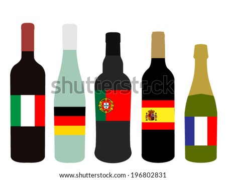 Wines of Europe Bottles with Flags - stock vector
