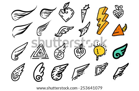Wing doodle - stock vector