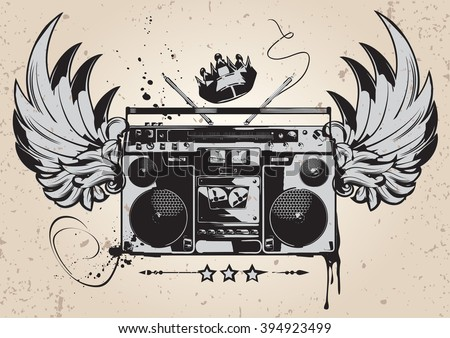 Winged boombox graffiti