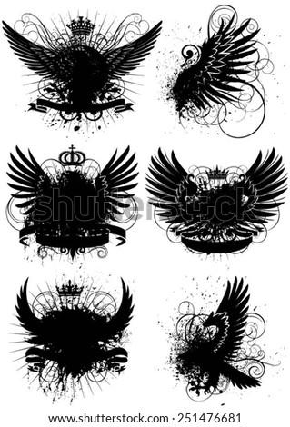 Winged grunge design - stock vector