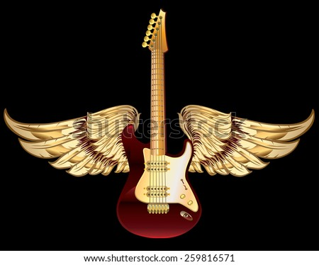 Winged guitar - stock vector