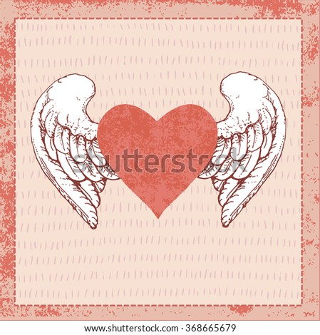 Winged heart hand drawn vector illustration on structure pink background