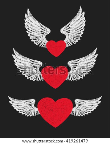 Winged Heart. Set of three red hearts with white wings. - stock vector