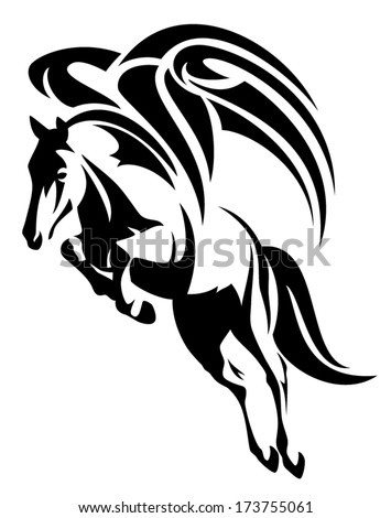 winged horse design - black and white tribal style pegasus - stock vector