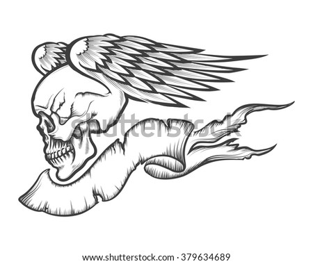 Winged human skull with banner drawn in engraving style. Isolated on white. - stock vector