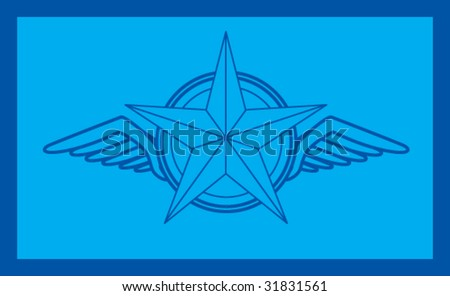 winged icon featuring silver star blueprint - stock vector