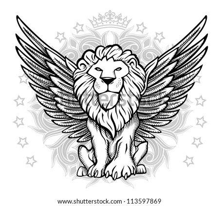Winged Lion Front View Drawing - stock vector