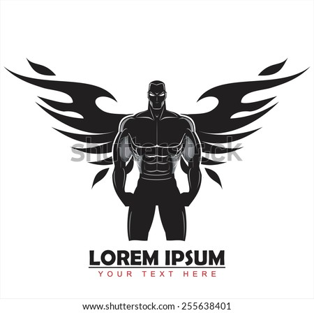 winged man. winged human silhouette. Design for Gym. Bodybuilder silhouette.  Sportsman silhouette character. Sport Fitness club creative concept. Power strength man icon.Fighter. Fighting Club  - stock vector