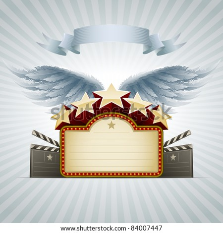 Winged movie banner. All elements are layered separately in vector file. Easy editable.