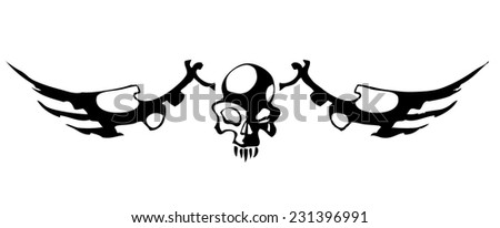 Winged Skull, Vector Illustration isolated on White Background.  - stock vector