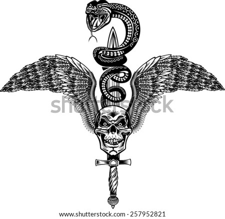 Winged Skull with Sword and Snake Tattoo Cobra - stock vector