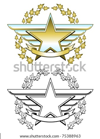 Winged star medallion in two different styles - stock vector