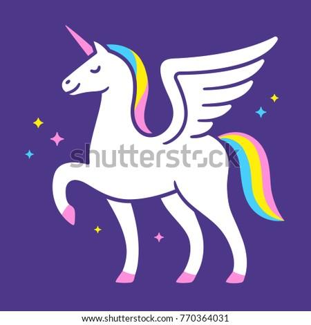 Winged Unicorn Vector Illustration Cute Cartoon Stock Vector