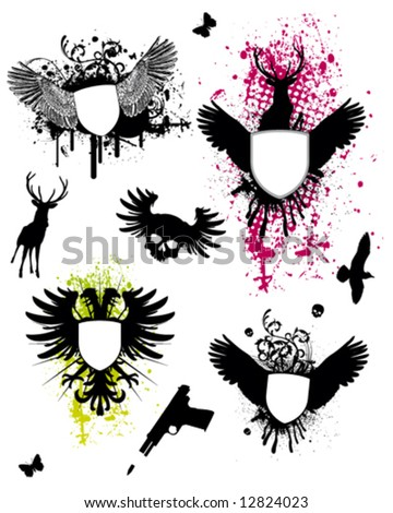 Wings Coat of Arms - stock vector