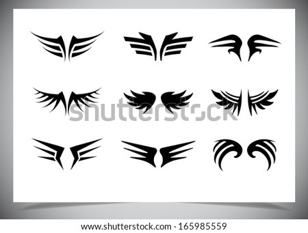 wings collection (set of wings). Vector illustration - stock vector