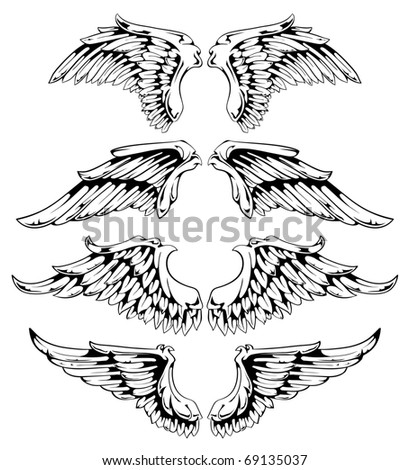 Wings for your vintage design. Layered. All elements are grouped. Vector EPS 10 illustration. - stock vector