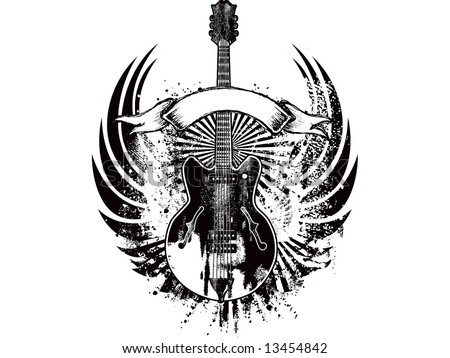 wings guitar emblem - stock vector