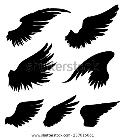 Wings - Hand-drawn vector wings.  Colors can be easily changed. - stock vector