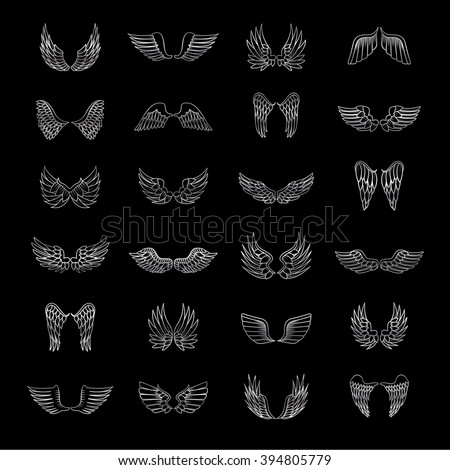 Wings Icons Set-Isolated On Black Background-Vector Illustration,Graphic Design.For Web, Websites, App, Print, Presentation Templates, Mobile Applications And Promotional Materials.Different Old Shape - stock vector