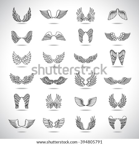 Wings Icons Set-Isolated On Gray Background-Vector Illustration,Graphic Design.For Web, Websites, App, Print, Presentation Templates, Mobile Applications And Promotional Materials.Different Old Shape - stock vector