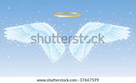 Wings of an angel with a nimbus above. - stock vector