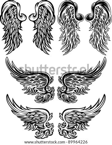 Wings of Angels Ornate Vector Images - stock vector