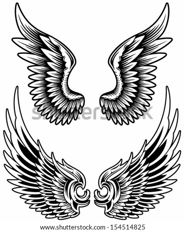 Wings Set Vector - stock vector