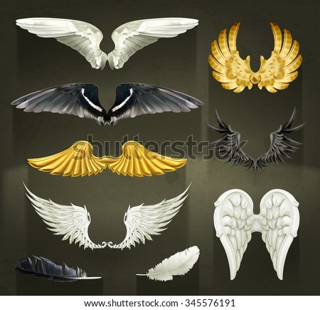 Wings, set vector illustrations on black background - stock vector