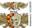 wings skull emblem - stock vector