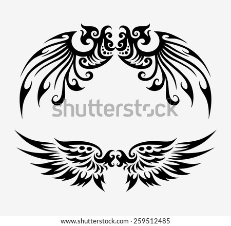 Wings tribal ornament decoration. Black wings elements, good use for tattoo design, illustration element, T-Shirt design, or any design you want. Easy to use, edit, or change color.  - stock vector