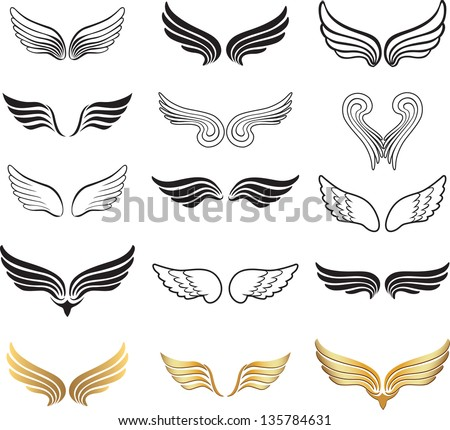 wings vector set stock vector 135784631 shutterstock rh shutterstock com vector winds 930 mb medical wings vector