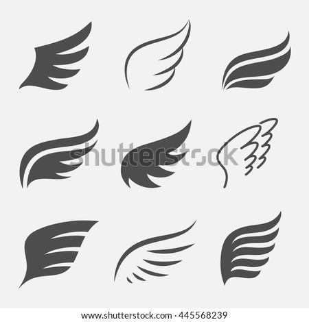 Wings vector set of icons isolated from the background. Abstract wings of a bird or angel for the logo, badges and emblems.