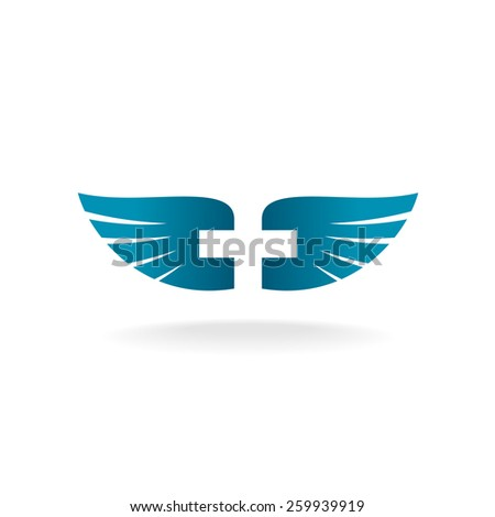 Wings with cross shape at the negative space logo template - stock vector