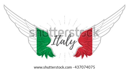 Wings with Italy flag colors on white background. Vector illustration - stock vector