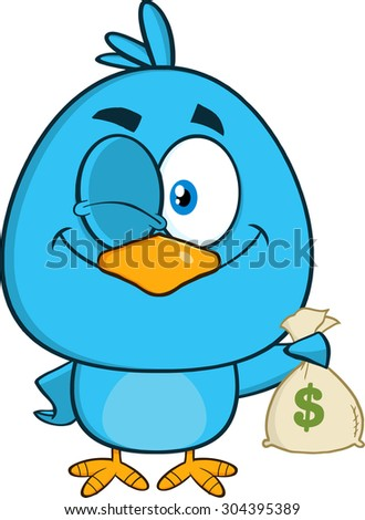 Winking Blue Bird Cartoon Character Holding A Bag Of Money. Vector Illustration Isolated On White - stock vector