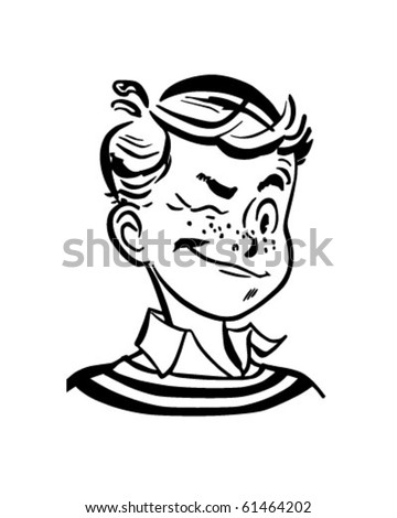 Winking Boy - Retro Clip Art - stock vector
