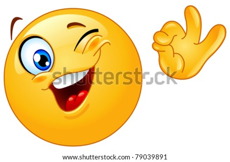 Winking emoticon showing ok sign - stock vector