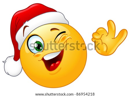 Winking emoticon wearing Santa hat - stock vector