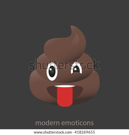 Winking poo icon. Shit emoticons. Poop emoji face isolated.  - stock vector
