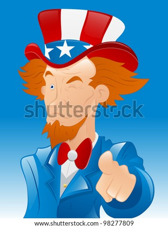 Winking Uncle Sam Vector - stock vector