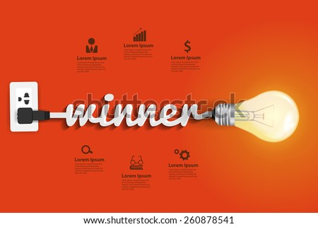 Winner concept, Creative light bulb idea abstract infographic layout, diagram, step up options, Vector illustration modern design template - stock vector