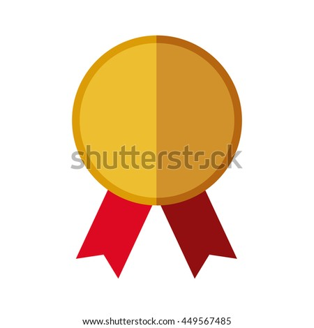 Winner concept represented by gold seal stamp icon. Isolated and flat illustration