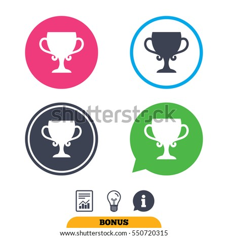 Winner cup sign icon. Awarding of winners symbol. Trophy. Report document, information sign and light bulb icons. Vector