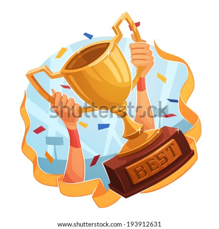 Winner cup. Sporting Achievement. Vector image - stock vector